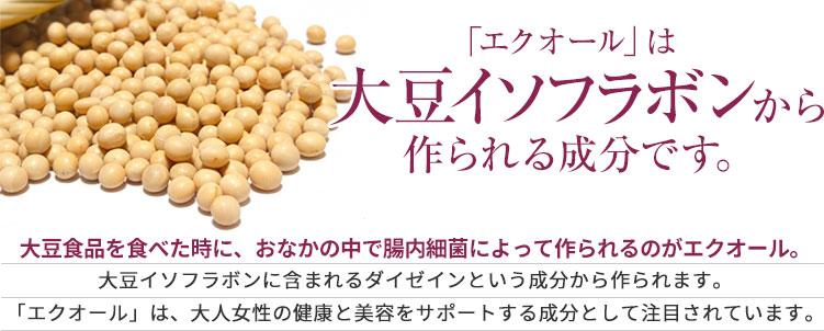 「エクオール」は大豆イソフラボンから作られる成分です。大豆食品を食べた時に、おなかの中で腸内細菌によって作られるのがエクオール。大豆イソフラボンに含まれるダイゼインという成分から作られます。「エクオール」は、大人女性の健康と美容をサポートする成分として注目されています。